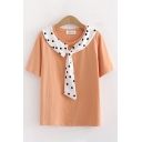 Stylish Womens Polka Dot Printed Tied Front Short Sleeve Round Neck Relaxed Fit T Shirt