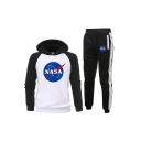 Mens Trendy Letter Nasa Printed Contrasted Long Sleeve Kangaroo Pocket Fit Hoodie & Ankle Cuffed Relaxed Sweatpants Set