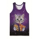 Chic Allover Glasses Pineapple Printed Sleeveless Relaxed Fit Tank Top for Men