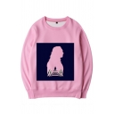 Cool Mens Cartoon Printed Long Sleeve Crew Neck Loose Pullover Sweatshirt