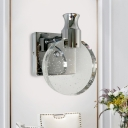 Seedy Crystal Disc Sconce Lighting Minimalism Bedroom LED Wall Mount Light in Silver