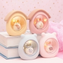 Guinea Pig in Cabin Resin Table Lamp Cartoon Grey/Yellow/Light Pink LED Nightstand Light for Kid Room