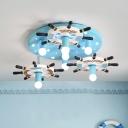Blue Rudder Ceiling Lighting Kids Style 7-Light Wood Semi Flush Mount Lamp with Naked Bulb Design