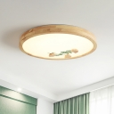 Circular Wooden LED Ceiling Fixture Minimalist Green/White Flush Mount Lamp with Ginkgo Pattern
