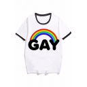 Popular White Letter Gay Rainbow Graphic Relaxed Fit Ringer Tee Top for Women