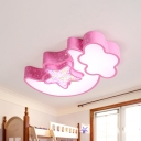 Night Sky Flush Mount Ceiling Fixture Kids Iron White/Pink/Blue LED Flushmount Lighting for Bedroom