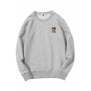 Fashionable Mens Cartoon Printed Long Sleeve Crew Neck Loose Pullover Sweatshirt