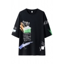 Stylish Letter Angel Pattern 3/4 Sleeves Crew Neck Long Loose Fit Tee Top for Guys