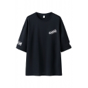 Boys Letter Pattern 3/4 Sleeves Round Neck Loose Fit Long Fashion T-shirt