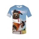 Cool Mens Bear 3D Pattern Short Sleeve Crew Neck Slim Fit Tee Top in Blue