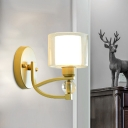 Clear and Frosted Glass Cup Wall Lamp Simplicity Single Living Room Sconce Light in Gold