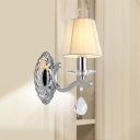 Chrome Conical Shade Wall Lamp Fixture Modernist Fabric 1/2-Head Living Room Wall Mount Light
