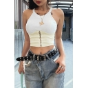 Fashionable Womens White and Apricot Patchwork Hook and Eye Embellished Scoop Neck Slim Fit Crop Cami Top