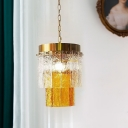Postmodern 2-Layer Hanging Lamp Single Yellow and Clear Textured Crystal Suspension Pendant Light