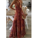 Ethnic Ladies Allover Flower Printed V-neck Long Pleated A-line Cami Dress in Orange