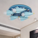 Rocket Boy Bedroom Ceiling Lighting Iron 5 Lights Kids Semi Flush Mounted Lamp in Blue