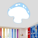 Kids LED Flushmount Lighting Pink/Yellow/Blue Mushroom Ceiling Light with Acrylic Shade for Kindergarten