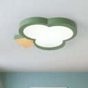 Acrylic Clover Ceiling Mounted Light Kids LED Flush Mount Lighting in Grey/White/Green with Wood Detail