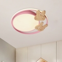 Creative Circular Flush Mount Light Acrylic LED Bedroom Ceiling Lighting in White with Wood Decor