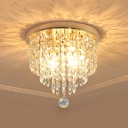 2 Bulbs Ceiling Flush Mount Simplicity Tiered Clear Crystal Flushmount Lighting for Hallway, 8