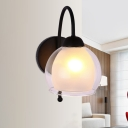 Spherical Living Room Sconce Light Vintage 2 Tiers Glass Shade 1 Bulb Black Wall Lamp