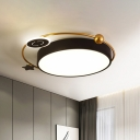 Nordic Style LED Flush Lamp with Acrylic Shade Black Finish Cloud/Sun/Moon Shaped Flush Mount Light