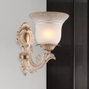 Beige 1/2-Bulb Sconce Light Antique White Glass Flared Wall Mounted Lamp for Living Room