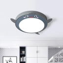 Grey Cute Flying Chick Ceiling Lamp Cartoon Acrylic LED Flush-Mount Light Fixture