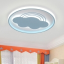 Modern Cloud Flush Mount Lamp Iron LED Bedroom Close to Ceiling Lighting Fixture in Pink/Blue