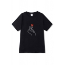 Finger Heart Printed Short Sleeve Crew Neck Loose Cool Fit T-shirt for Boys