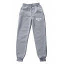 Streetwear Boys Sherpa Liner Letter Senpai Print Drawstring Waist Cuffed Ankle Tapered Fit Sweatpants