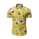 Allover Crane Patterned Short Sleeve Point Collar Button down Fitted Retro Shirt for Guys