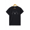 Basic Cartoon Cat Printed Short Sleeve Crew Neck Regular Fit Tee Top for Girls