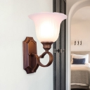 White Glass Flared Surface Wall Sconce Country 1/2-Light Bedroom Wall Lighting in Coffee with Swooping Arm
