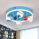 Round Semi Mount Lighting Cartoon Metal 5 Lights Blue Finish Flush Lamp with Globe Planet Glass Shade