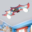 Wood Bat Ceiling Light Fixture Cartoon 2 Heads Blue Flush Mount Lighting with Milk Glass Shade
