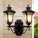 2-Head Dimple Glass Wall Sconce Retro Black Urn Outdoor Wall Mounted Light Fixture