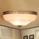 Barn Bedroom Ceiling Flush Country Style White Glass 3/5 Bulbs Gold Flush Mount Lighting Fixture, 14