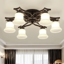 6 Lights Bell Shade Flush Mount Light Rural Style Black Finish White Glass Ceiling Fixture