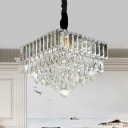 Tiered Clear Crystal Pendant Lighting Modern Dining Room LED Ceiling Suspension Lamp
