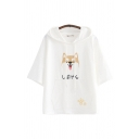 Cute Japanese Letter Dog Graphic Paw Embroidery Short Sleeve Drawstring Pouch Pocket Relaxed Ears Hooded Tee for Girls