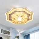 Round/Geometric Clear Crystal Flush Mount Minimalism LED Bedroom Close to Ceiling Lighting