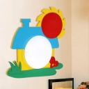 House-Shape Wood Wall Sconce Lighting Cartoon LED Red-Yellow-Blue Wall Lamp Fixture