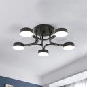 Iron Circle Semi Flush Mount Nordic Black/White/Blue LED Ceiling Mounted Light with Acrylic Shade