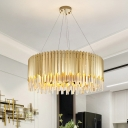 6 Lights Chandelier Light Fixture Luxury Crystal Pendant Lighting in Gold for Kitchen