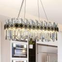 Crystal Block Oval Island Light Modern LED Kitchen Suspension Lighting in Black and Gold