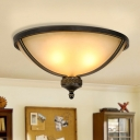Frosted White Glass Bowl Flush Light Antiqued 3 Lights Dining Table Ceiling Flushmount Lamp with Black Band