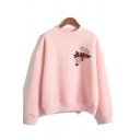 Pretty Girls Floral Printed Long Sleeve Mock Neck Relaxed Fit Pullover Sweatshirt in Pink
