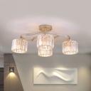 4/6 Bulbs Semi Flush Ceiling Light Modern Cylinder Crystal Block Flush Mount Lamp in Gold