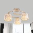 Gold 3-Light Semi Flush Mount Minimalist Crystal Column Flush Ceiling Light Fixture